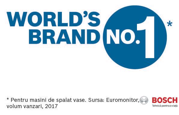 Bosch - Top vanzari in lume, pentru masinile de spalat vase.